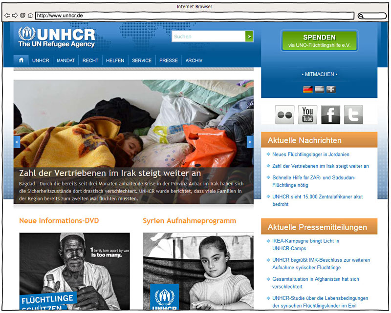 Screenshot - www.unhcr.de